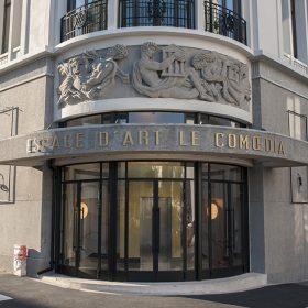 Devanture facade de espace d'art galerie le comoedia finistere brest bretagne tourisme culture patrimoine historique