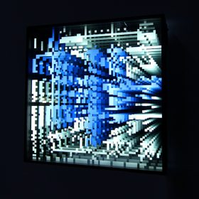 Miguel Chevalier Fenetre memoire infinie bleu vert peinture peintre exposition temporaire sculpture le comoedia espace art brest finistere bretagne france culture tour