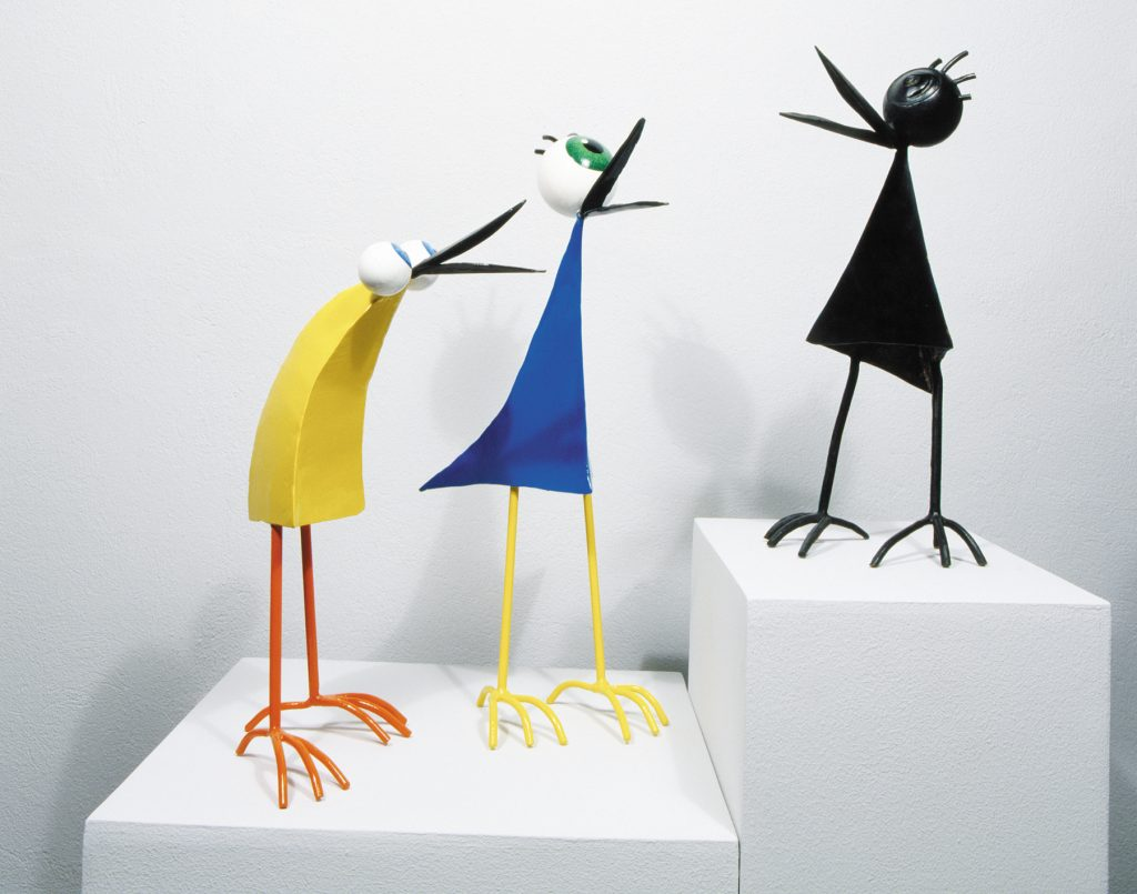 3 Poules de Richard di Rosa sculptures galerie espace art le Comoedia Brest