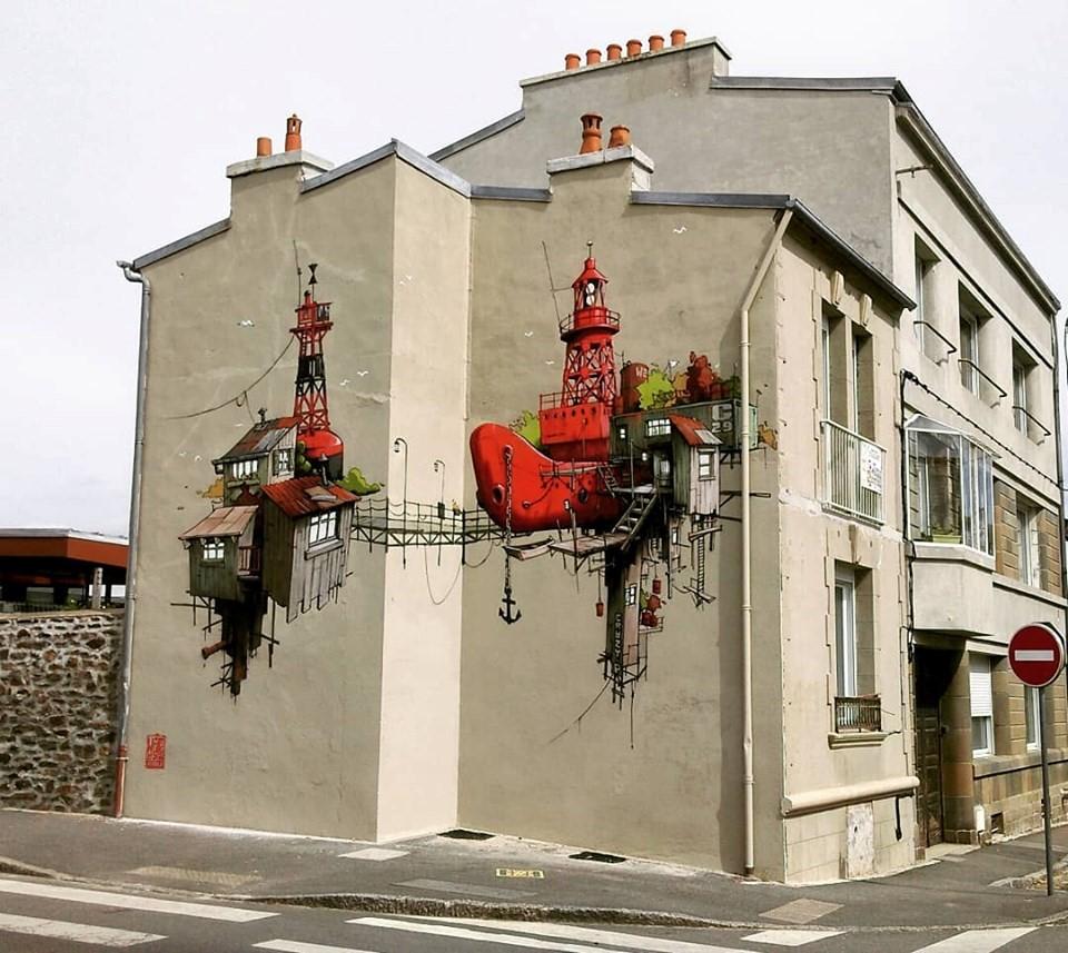 Wen2 street art illustration de l artiste de la galerie espace art le Comoedia Brest exposition art urbain street art graff