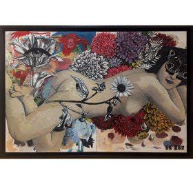 Anna Belle Rose de 13Bis Collage peinture fleurs et femme oeil exposition art urbain galerie espace art le Comoedia