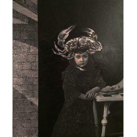 Jeune fille au chapeau de crabe de 13bis exposition art urbain galerie espace art le Comoedia collage et peinture