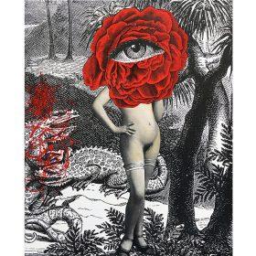 Chimère de 13Bis Collage et peinture coprs de femme rose rouge et oeil exposition art urbain galerie espace art le Comoedia