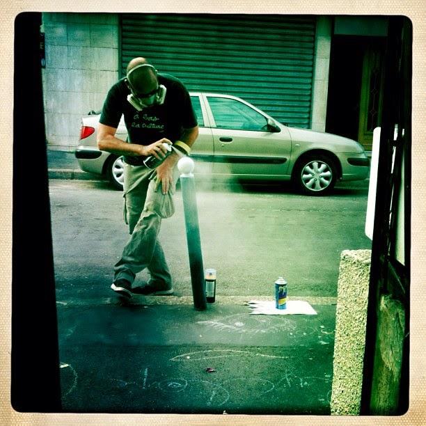 Le Cyklop artiste de la galerie espace art le Comoedia Brest exposition art urbain street art