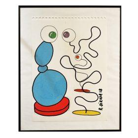 Bleu dessin sur papier de Richard di Rosa exposition art urbain galerie espace art le Comoedia