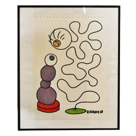 Violet dessin sur papier de Richar Di Rosa galerie espace art le Comoedia exposition art urbain
