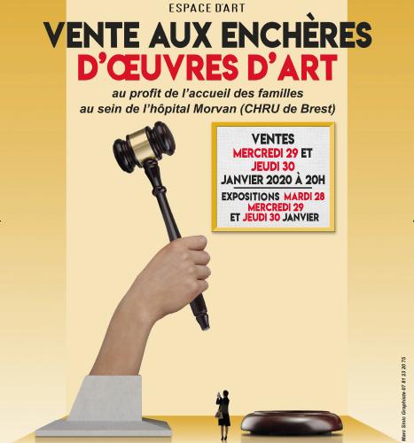 Affiche ventes caritatives janvier 2020 espace art le Comoedia