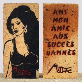 Amy Miss Tic pochoir sur brique artiste de la galerie espace art le Comoedia Brest exposition art urbain street art