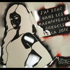 Pochoir graffiti Jai zoné de Miss Tic artiste de la galerie espace art le Comoedia Brest exposition art urbain street art