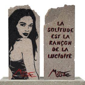 La Solitude de Miss Tic Pochoire sur Parpaing artiste de la galerie espace art le Comoedia Brest exposition art urbain street art