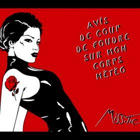 Coup de foudre sur mon corps Miss Tic artiste de la galerie espace art le Comoedia Brest exposition art urbain street art