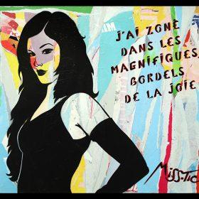 J ai zone de Miss Tic artiste de la galerie espace art le Comoedia Brest encre aerosol pochoir collage exposition art urbain street art