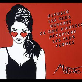 Refuser les yeux ouverts de Miss Tic serigraphie artiste de la galerie espace art le Comoedia Brest exposition graff art urbain street art