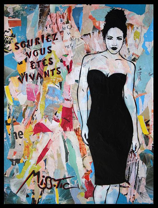 Souriez Vous etes vivant de Miss Tic estampe numerique artiste de la galerie espace art le Comoedia Brest exposition art urbain street art