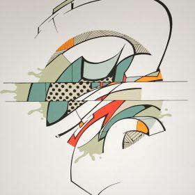 Travail de Reso artiste street art de la galerie Espace art le Comoedia de Brest
