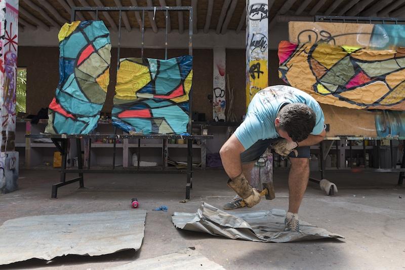 Travaux de artiste Reso de la galerie art le Comoedia de Brest exposition art urbain
