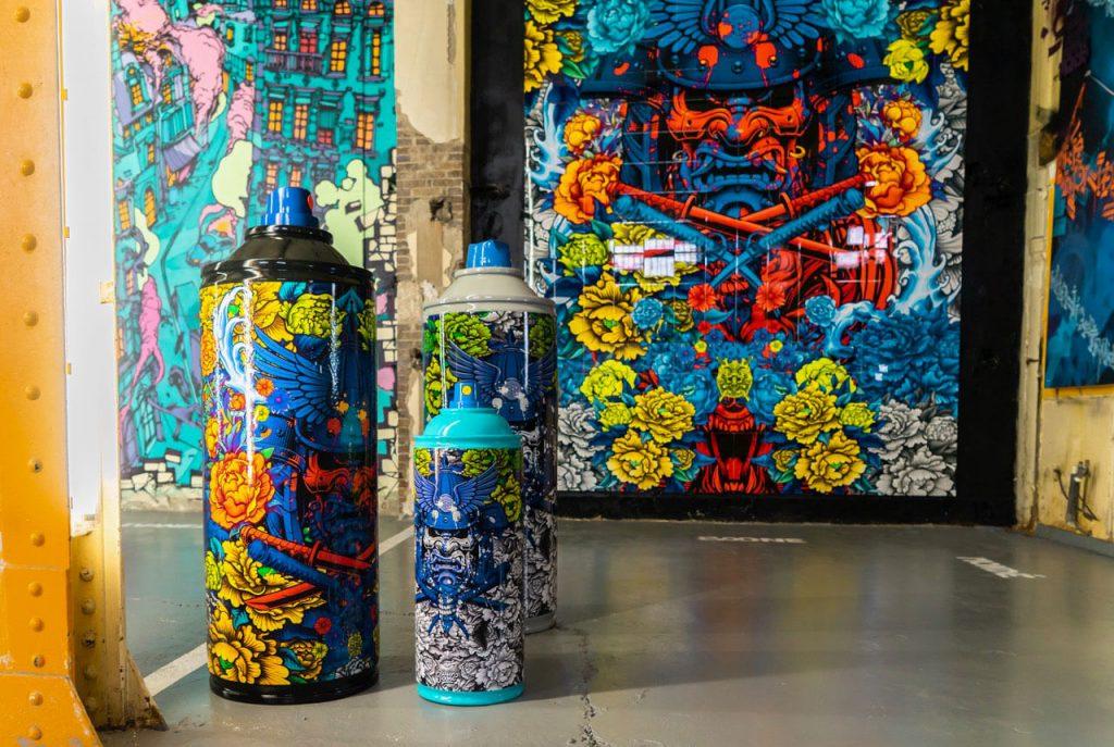 Bombes aerosols sculptures et ceramiques emaillees de Julien Soon artiste de la galerie espace art le Comoedia de Brest exposition art urbain
