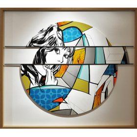 Thinking girl 1 serie Vous les femmes tableau bois exposition art urbain galerie espace art le Comoedia