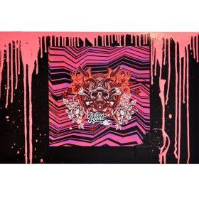 Pinky Drips de Julien Soon sur ceramique sur plaque de metal exposition art urbain galerie art le Comoedia