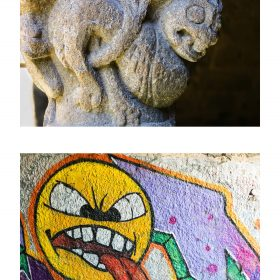 Photographie de JPH smiley expositon art urbain galerie art le comoedia sculpture et graffiti
