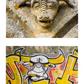 Photographie de JPH exposition art urbain galerie art le Comoedia buffle graffiti sculpture