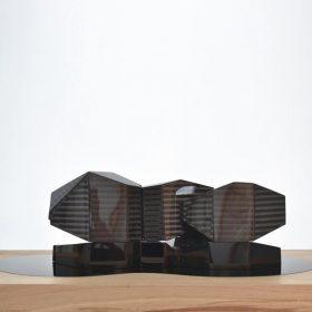Sculpture carbone et bois Vincent de Montpezat galerie art le Comoedia exposition art urbain