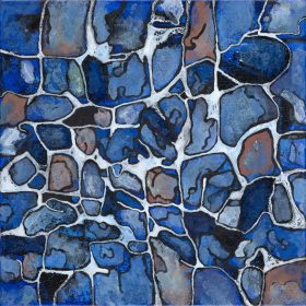 Peinture Nansky formes de nuances bleues et oranges