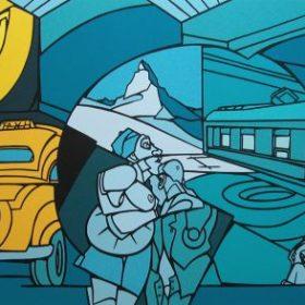Sérigraphie Valério Adami personnages chien taxi jaune montage train nuances de bleus