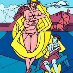 Sérigraphie Valerie Adami femme en ballerines hommes assis cheval maisons montagnes fond bleu et violet