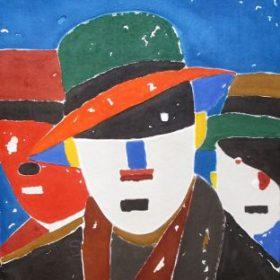 Lithographie Jacques Villeglé Hommes à chapeaux sur fond bleu