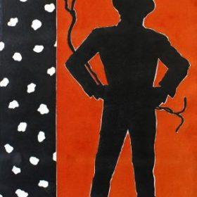 Aquagravure Eduardo Arroyo Silhouette noire homme à chapeau sur fond rouge bandeau gauche noir avec points blancs