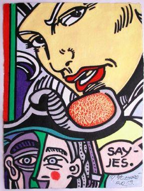 Aquagravure Erro Femme au téléphone visage style Picasso