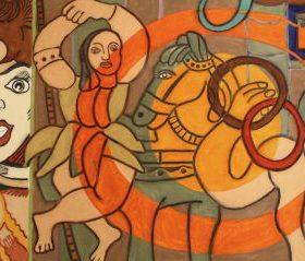 Aquagravure Erro visage femme femme dansant devant un cheval musicien formes colorées