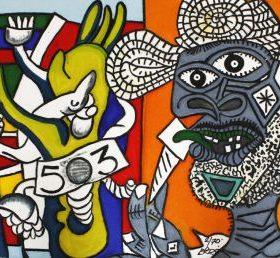 Aquagravure Erro style Picasso homme à peau grise et chapeau sur fond orange formes colorées coté droit