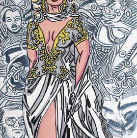 Aquagravure Erro femme en robe de mariée fonds blanc et noir avec formes personnages