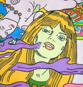 Aquagravure Erro femme à la peau verte femme nue allongée volutes violettes et roses fond bleu