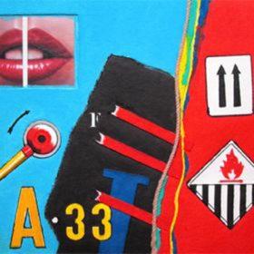 Aquagravure Peter Kalsen Fond bleu et rouge photo bouche manivelle panneaux