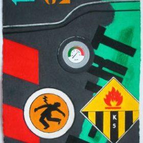 Aquagravure Peter Klasen mur noir et vert écriture noire panneau électrocution panneau flamme