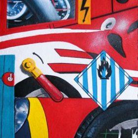 Aquagravure Peter Klasen ferrari fond rouge panneau flammes panneau éclair