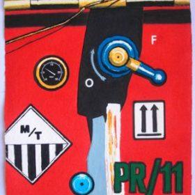 Aquagravure Peter Klasen fond rouge manivelle panneau compteur