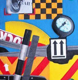 Aquagravure Peter Klasen panneau compteur barrières formes jaunes bleues rouges oranges photo bouche