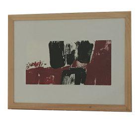 Tableau Jacques Blanpain formes noires et rouges sur fond blanc