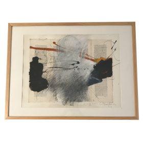 Tableau Jacques Blanpain silhouette blanche avec formes noires sur pages livre
