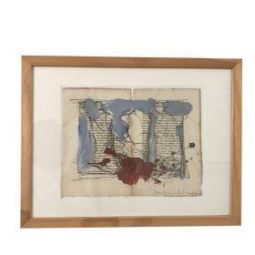 Tableau Jacques Blanpain formes bleues et marrons sur pages de livre