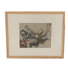 Tableau Jacques Blanpain formes humaines noires sur fond blanc