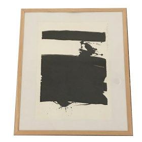 Tableau Jacques Blanpain formes noires sur fond blanc