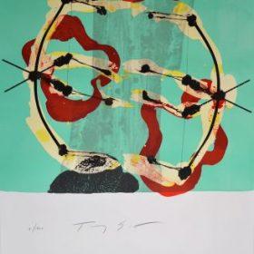 Lithographie Tony Soulié Fond bleu turquoise formes noires rouges jaunes