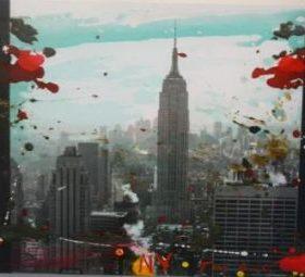 Lithographie Tony Soulié Photo Empire State building taches Rouches ciel coloré bleu