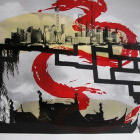 Lithographie Tony Soulié photo noir et blanc villes dragon rouge coloration jaune