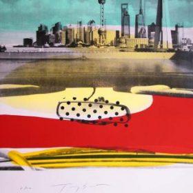 Lithographie Tony Soulié photo noir et blanc ville couleurs rouges jaunes bleues